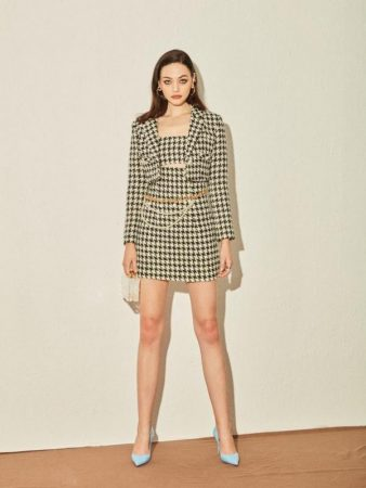 Nana Jacqueline Skirts | Womens Black and White Swallow Grid Suit Black
